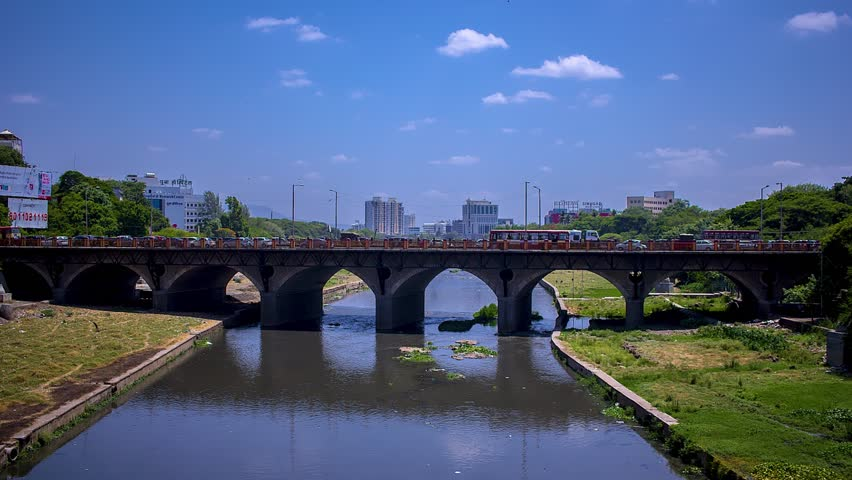 Time lapse of a city bridge in Pune, India