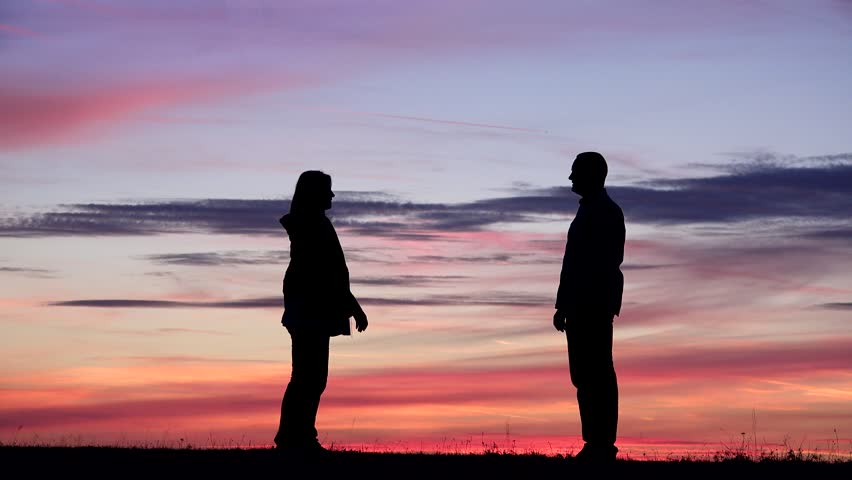 Couple meet and hold hands at sunset, child run to parents, romantic life with kids, new love   Shutterstock HD Video #1013780936