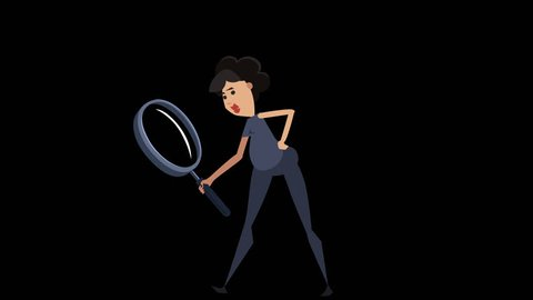 Funny Cartoon Situations Nika Girl. Look into Magnifying Glass Woman Animation with Alpha Channel