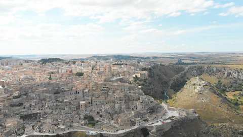 Aerial Drone flying over Matera - European Capital of Culture for 2019, Italy