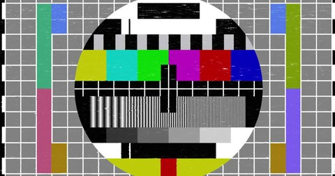 abstract realistic screen glitch flickering, multicolor analog vintage TV signal with bad interference and color bars, static noise background, overlay ready
