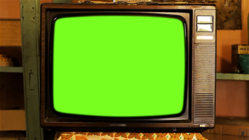 80s Television with Green Screen. Tobacco Tone. Zoom In  | Shutterstock HD Video #1013886866