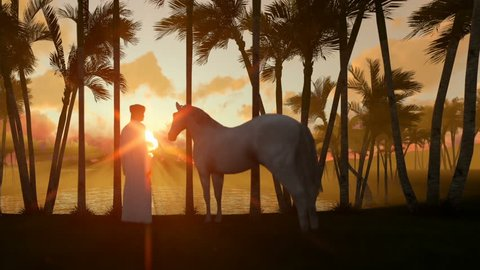 Arab man with horse at oasis in desert with water pond and palm trees at sunset, panning