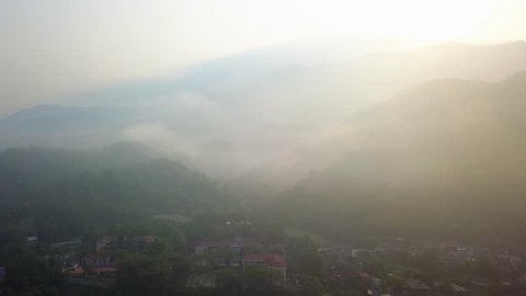 View from high above dawn down the high school in Muong Cha district, Dien Bien province, Viet Nam.