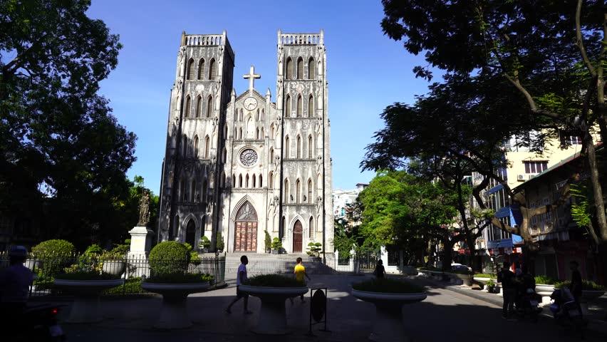 Hanoi/Vietnam - 4 July 2018:St Joseph's Cathedral in Hanoi, Vietnam. The famous place in Hanoi, Vietnam.