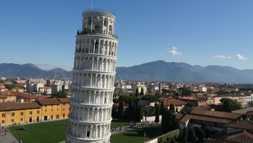 Aerial footage drone view of Pisa Tower in Italy// no video editing   Shutterstock HD Video #1013962736