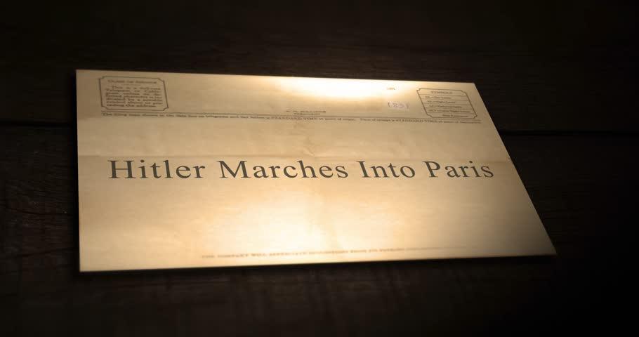 Sepia old telegram text series -  Hitler Marches Into Paris