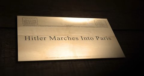 Sepia old telegram text series -  Hitler Marches Into Paris