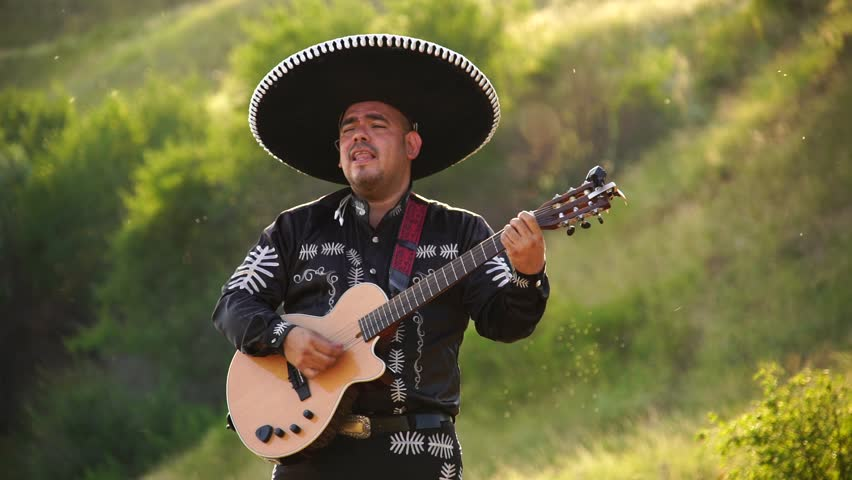 Mexican musician mariachi in traditional costume with sombrero plays guitar.  | Shutterstock HD Video #1013994836