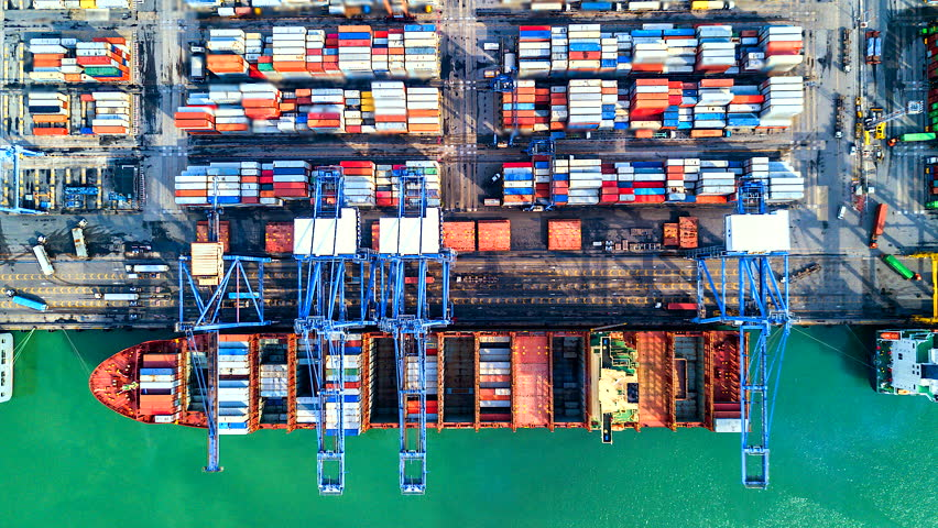 4K Timelapse of modern industrial port with containers from top view or aerial view. It is an import and export cargo port where is a part of shipping dock. Singapore  #1014005996