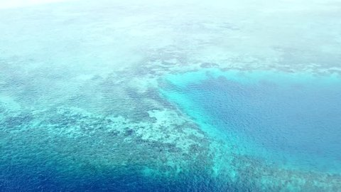 Aerial view of a coral reef and blue hole in Wakatobi National Park in Indonesia. This region harbors extremely high marine biodiversity and is a popular destination for scuba diving and snorkeling.