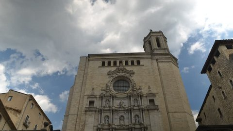 Time lapse of St Mary Cathedral the most famous and visited landmark in Girona, Catalonia, Spain.