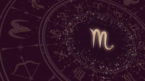 Zodiac sign Scorpio and horoscope wheel
