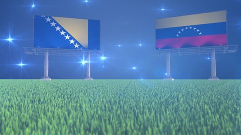 Soccer, football, Bosnia and Herzegovina, Venezuela, flag, flags, ball, lawn, grass, black, white, green, blue, billboard, bouncing, rotating, flying, bounce, spin, world, cup, game, match, result, sp