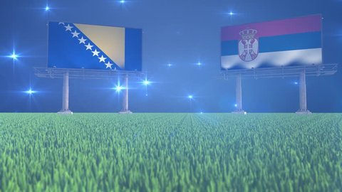 Soccer, football, Bosnia and Herzegovina, Serbia, flag, flags, ball, lawn, grass, black, white, green, blue, billboard, bouncing, rotating, flying, bounce, spin, world, cup, game, match, result, sport