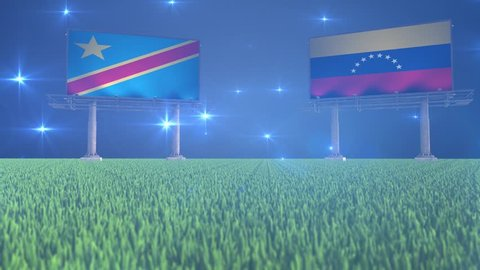 Soccer, football, Democratic Republic Congo, Venezuela, flag, flags, ball, lawn, grass, black, white, green, blue, billboard, bouncing, rotating, flying, bounce, spin, world, cup, game, match, result,
