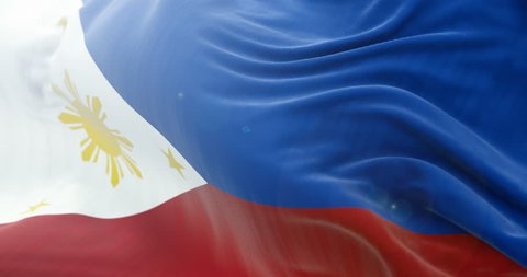 Philippines Flag Slow Waving background. 4k Close up flag waving. seamless loop