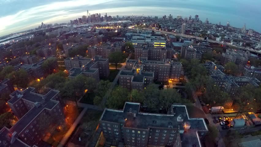 4k Aerial View over the Projects of NYC at Night | Shutterstock HD Video #10140926