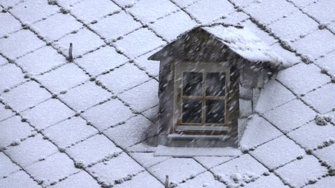 Dormer and heavy snowfall, Kastel-Staadt, Rhineland-Palatinate, Germany, Europe