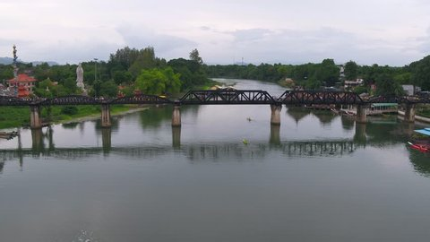 Aerial View Of Bridge Over Kwai River, Kanchanaburi, Thailand