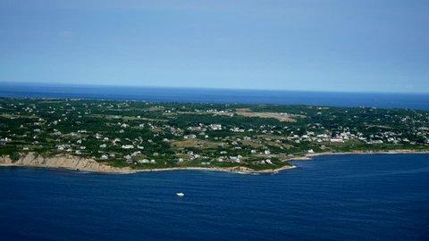 Block Island, RI Aerial Shoreline view looking West from Ocean.