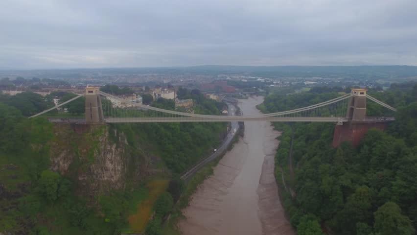 Clifton Suspension Bridge Bristol. Aerial shot in bad weather