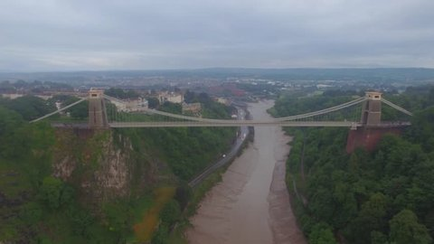 Clifton Suspension Bridge Bristol. Aerial shot in bad weather