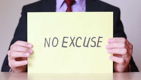 """No Excuse"" inscription in male hands"