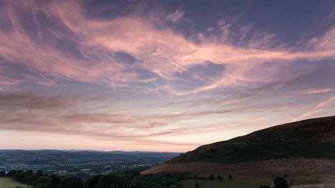 4k time lapse of clouds at dusk over the Vale of Clwyd, North Wales