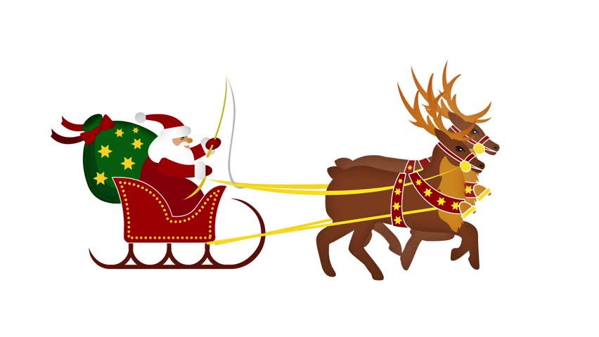 santa claus with galloping reindeer in loop stock footage video 1014316 shutterstock - Santa Claus And Reindeers