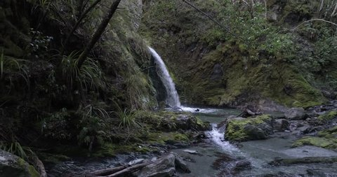 Aerial pull back of a waterfall in New Zealand