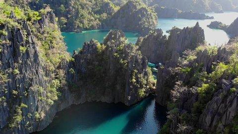Aerial views on beautiful emerald green lagoons and lake in Coron island, Palawan, th Philippines