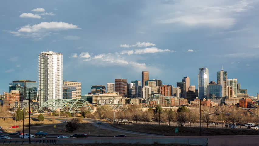 Downtown Denver, Colorado Skyline Day to Night Sunset Timelapse Wide