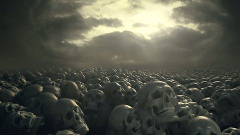 Field of skulls with overcast sky. Fantasy style illustration. Track shot. Ancient cemetery of battleground. Cinematic quality.