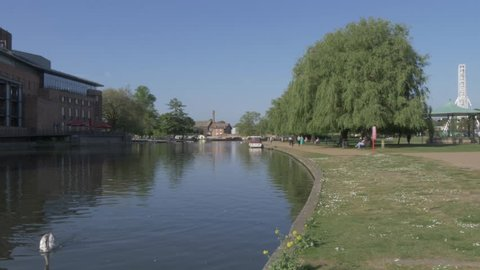 Royal Shakespeare Company and River Avon in Stratford Upon Avon, Warwickshire, England, United Kingdom, Europe