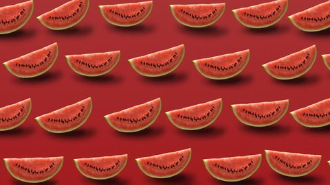 Colorful fruit pattern of fresh watermelon slice on red background.