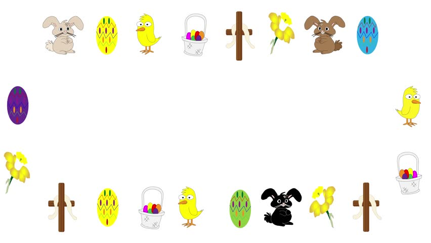 Easter icons illustrated with bunny, chick, daffodil, cross, dyed egg and basket on white with copy space animated in seamless loop.