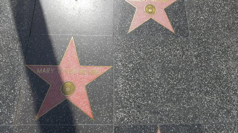 Los Angeles, United States - June, 2017: Stars on the Hollywood Walk of Fame