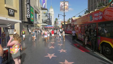 Los Angeles, United States - June, 2017: Tourists on the Hollywood Walk of Fame