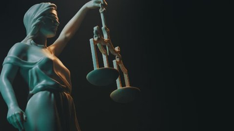 Lady Justice, Themis statue. 3D animation.