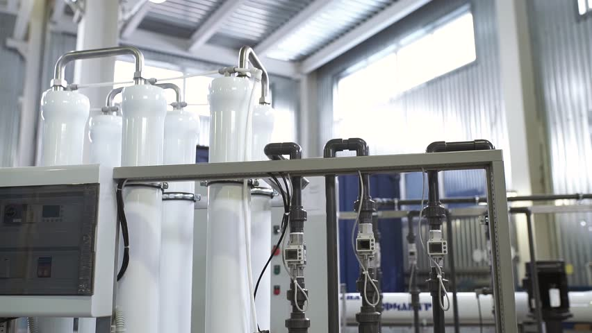Reverse osmosis plant for water purification in the factory