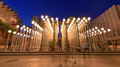 LOS ANGELES, CA, U.S.A. August 21, 2017:  LACMA Urban Lights Timelapse