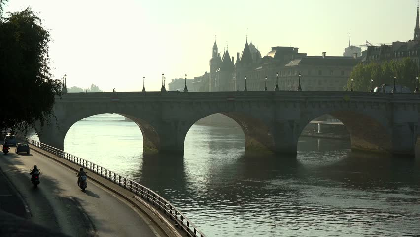 Seine River, Pont Neuf and Conciergerie, Ile de la Cite, Paris, France, Europe | Shutterstock HD Video #1014524726