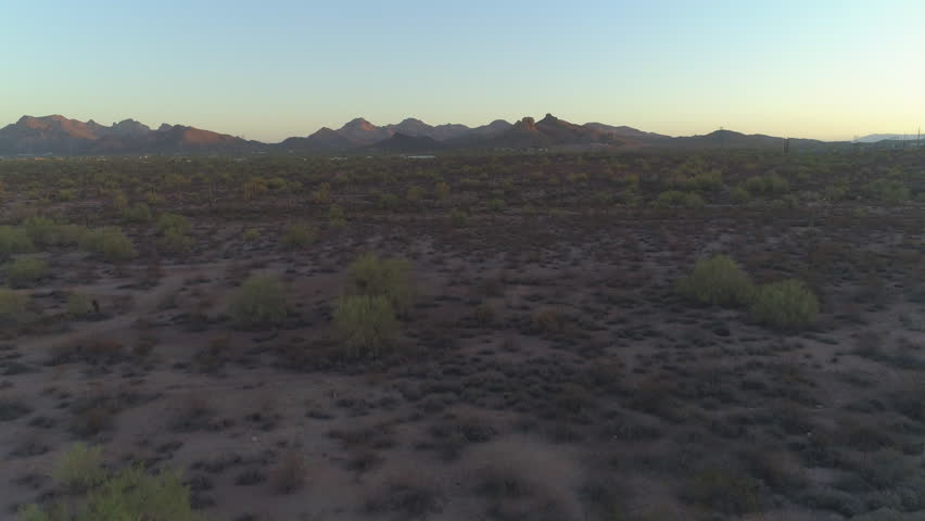4K Aerial Pan Down of Iconic Arizona Sonoran Desert with Superstition Mountains