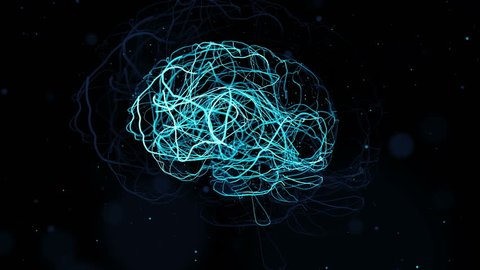3d render of brain form with a lot of particles. Particles follow brain surface and left trails that symbolize neurons.