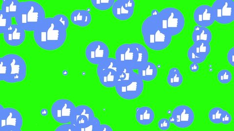 Izmir/Turkey - 03.08.2018: Modern blue like icons are increasing in green screen. Social media's notifications. Like or follow symbol of application.