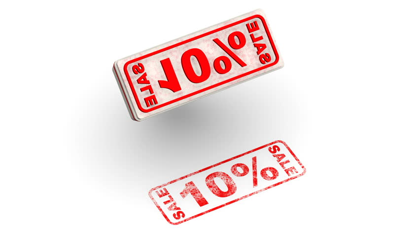 Sale 10 percentage. The stamp leaves a red imprint 10% SALE on white surface. Footage video