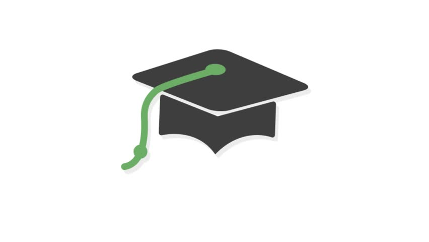 Education icons animation with white  background.Graduation Hat icon animation with white background.