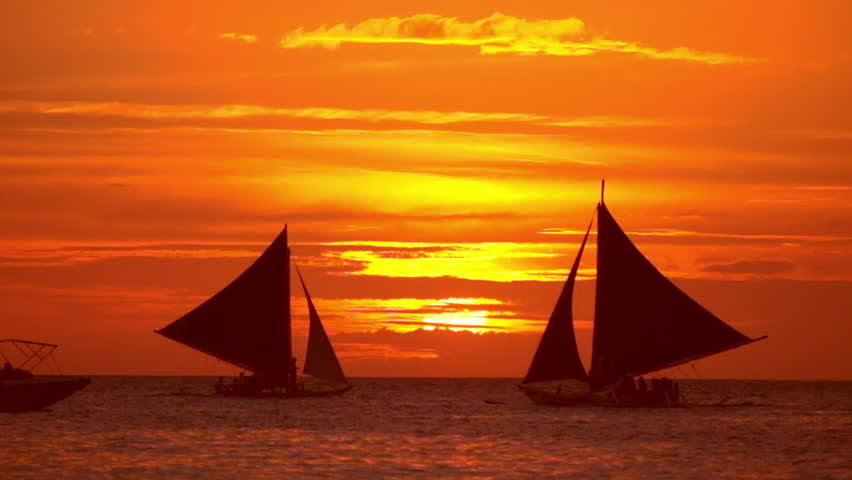 Amazing Colors Of Tropical Sunset Sail Boats Silhouettes Floating On Ocean Horizon Boracay