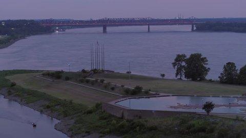 Aerial footage Mud Island Park Memphis Tennessee USA